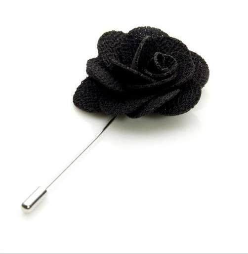 Stylish Beautiful Black Flower Lapel Pin: Flower Lapel Pin Black