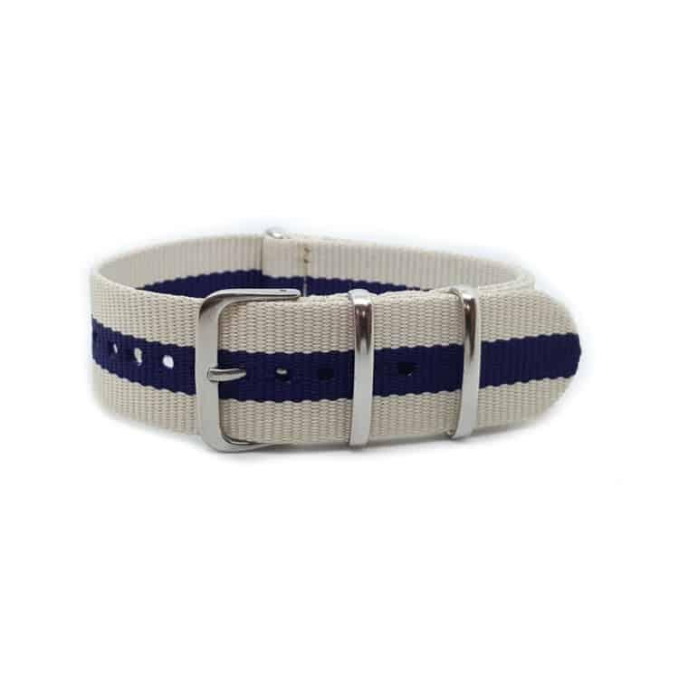 658835b2e09 Cream   Blue Stripe NATO Canvas Strap 20mm